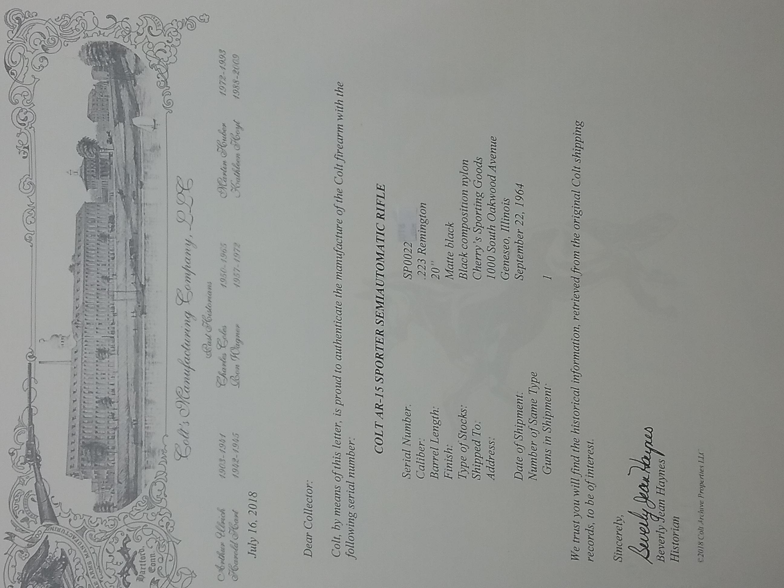 Finally got letter  1964 Colt SP1