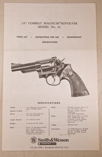 fs s w instruction manual model 19 original rh smithandwessonforums com S&W Model 19-3 Colt Python